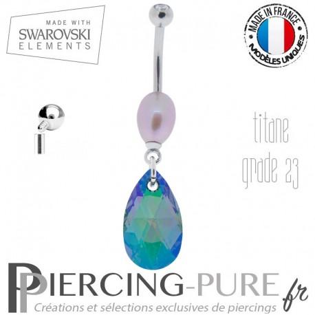 Piercing Nombril Titane interne Paradise Shine Comet Argent Light et perle naturelle