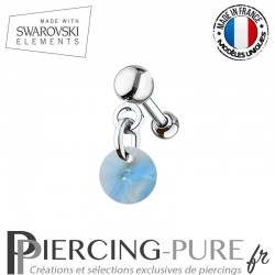 Piercing oreille cartilage Swarovski element Rivoli 6mm Aquamarine Shimmer