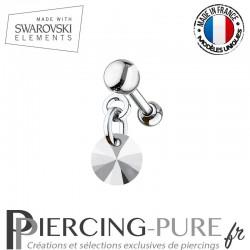 Piercing oreille cartilage Swarovski element Rivoli 6mm Crystal Light Chrome