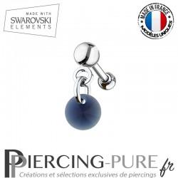 Piercing oreille cartilage Swarovski element Rivoli 6mm Dark Indigo