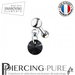 Piercing oreille cartilage Swarovski element Rivoli 6mm Crystal Jet