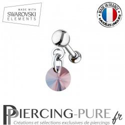 Piercing oreille cartilage Swarovski element Rivoli 6mm Crystal Rose Peach Shimmer