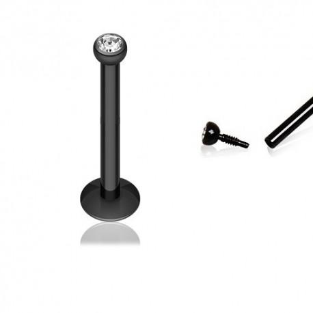 Piercing Labret Blackline strass blanc - 10mm