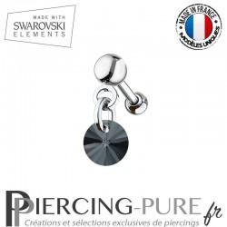 Piercing oreille cartilage Swarovski element Rivoli 6mm Crystal Graphite