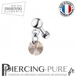 Piercing oreille cartilage Swarovski element Rivoli 6mm Crystal Rose Patina