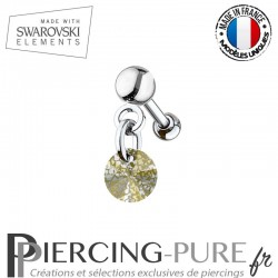 Piercing oreille cartilage Swarovski element Rivoli 6mm Crystal Gold Patina