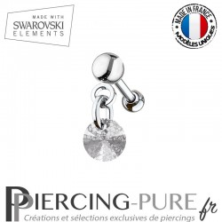 Piercing oreille cartilage Swarovski element Rivoli 6mm Crystal Silver Patina