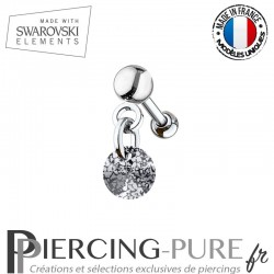 Piercing oreille cartilage Swarovski element Rivoli 6mm Crystal Black Patina