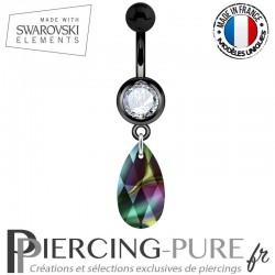 Piercing Nombril Blackline Swarovski Elements Poire Crystal Rainbow Dark