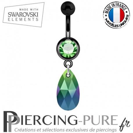 Piercing Nombril Blackline Swarovski Elements Poire Crystal Scarabeus Green