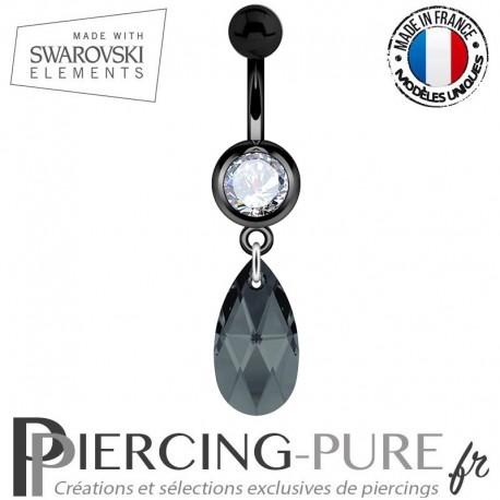 Piercing Nombril Blackline Swarovski Elements Poire Crystal Graphite