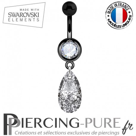 Piercing Nombril Blackline Swarovski Elements Poire Crystal Black Patina