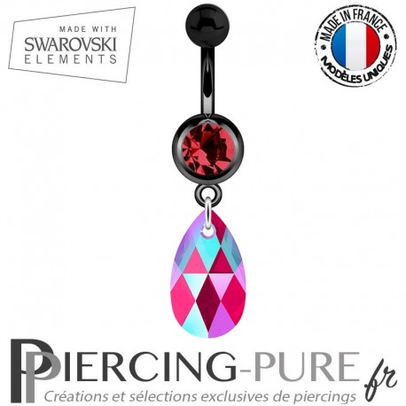 Piercing Nombril Blackline Swarovski Elements Poire Crystal Light Siam Shimmer