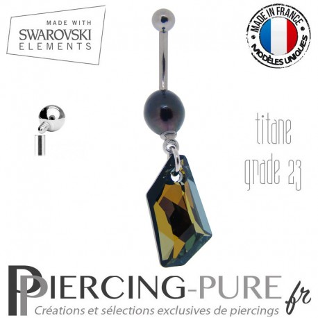 Piercing Nombril Titane interne De-Art Swarovski Elements Crystal Tabac et perle naturelle