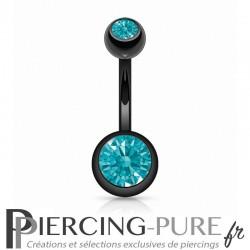 Piercing Nombril Blackline Cristaux turquoises vifs
