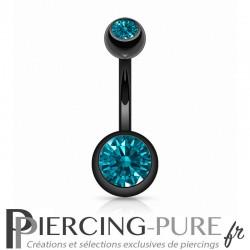 Piercing Nombril Blackline Cristaux turquoises foncés