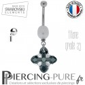 Piercing Nombril Titane interne Cross Tribe Graphite Swarovski Elements et perle naturelle