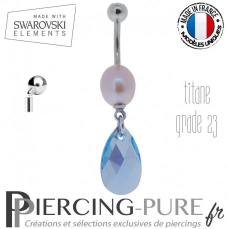 Piercing Nombril Titane interne Poire Tanzanite AB et perle naturelle