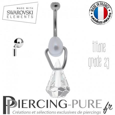 Piercing Nombril Titane interne Xirius Raindrop Crystal et perle naturelle