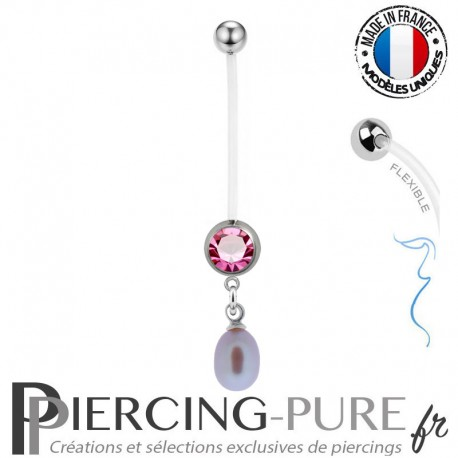 Piercing Nombril Grossesse Perle de culture Rose