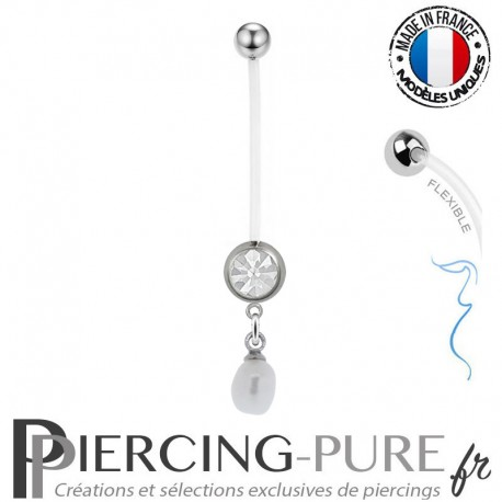 Piercing Nombril Grossesse Perle de culture Blanche