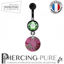 Piercing Nombril Blackline Cristal Vert Swarovski Elements Sun Crystal Volcano