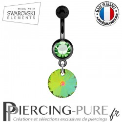 Piercing Nombril Blackline Cristal Vert Swarovski Elements Rivoli Crystal Vitrail Medium