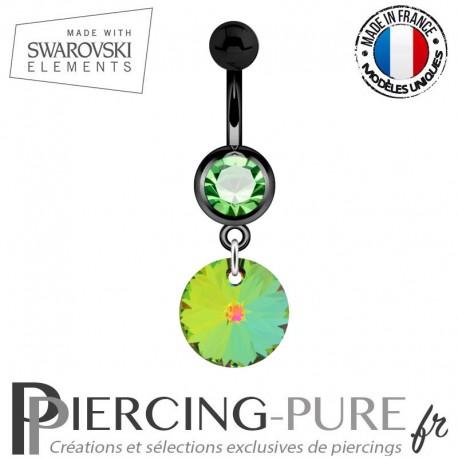 Piercing Nombril Blackline Cristal Vert Swarovski Elements Rivoli Crystal Vitrail Medium