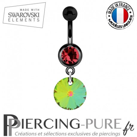 Piercing Nombril Blackline Cristal Rouge Swarovski Elements Rivoli Crystal Vitrail Medium