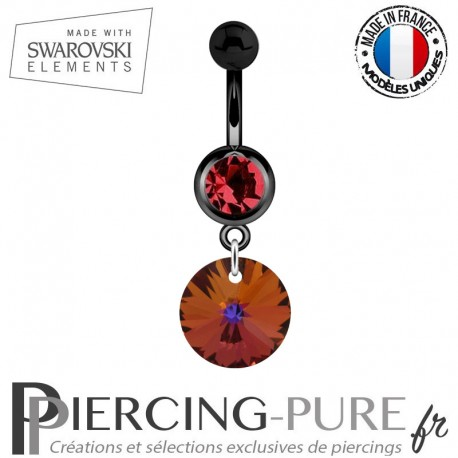 Piercing Nombril Blackline Cristal Rouge Swarovski Elements Rivoli Crystal Volcano