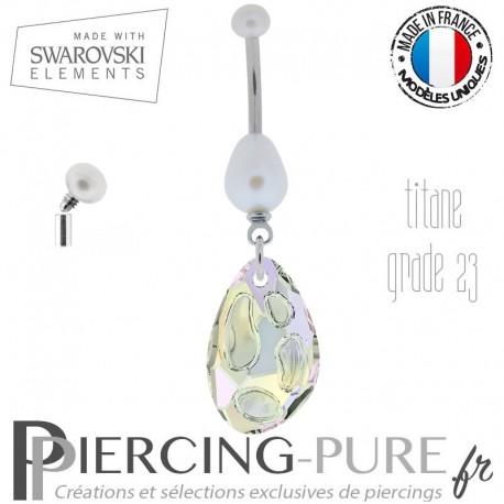 Piercing Nombril Titane Perles de culture et Swarovski Radiolaire Crystal AB