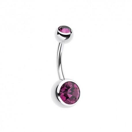 Piercing Nombril deux Pierres violettes