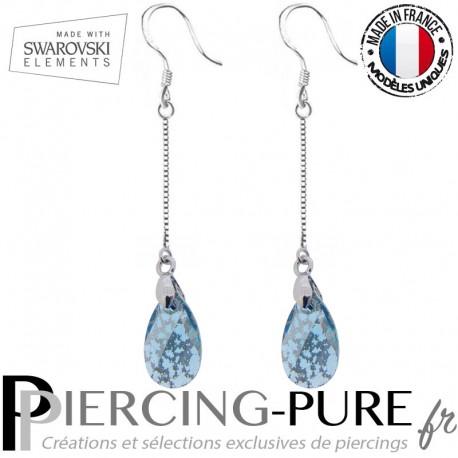 Boucles d'Oreilles Pendentif Swarovski Poire Aquamarine Silver Patina - La paire