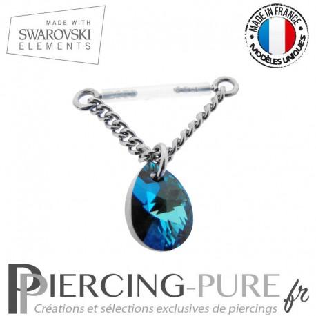Piercing Téton Bioflex chainette et Poire Swarovski Bermuda Blue