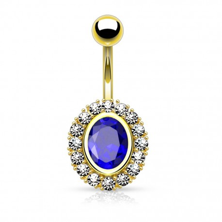 Piercing Nombril plaqué or Eclat bleu