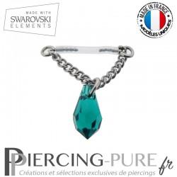 Piercing Téton Bioflex chainette et Goutte Swarovski Emerald