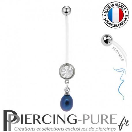Piercing Nombril Grossesse Perle de culture reflets bleu et violets