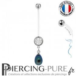 Piercing Nombril Grossesse Perle de culture reflets bleu et verts