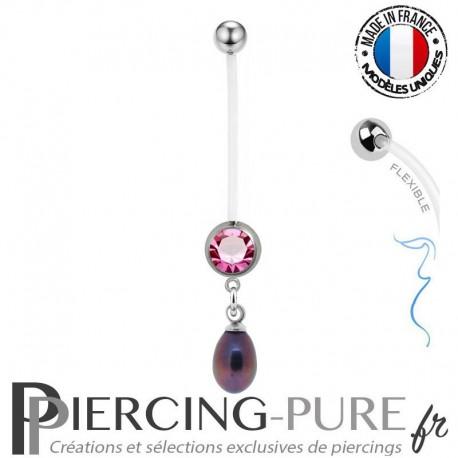 Piercing Nombril Grossesse Perle de culture reflets roses et violets
