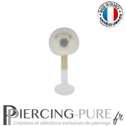 Piercing labret Or et Bioflex avec Perle de culture blanche 5mm