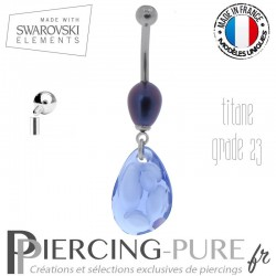 Piercing Nombril Titane Perles Prussian Blue et Swarovski Radiolaire Crystal Tanzanite