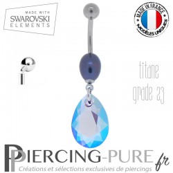 Piercing Nombril Swarovski Titane interne Pear Cut Tanzanite Shimmer et perle naturelle