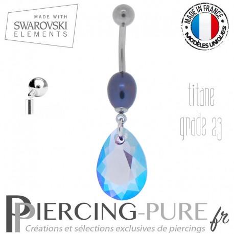 Piercing Nombril Swarovski Titane interne Pear Cut Tanzanite Shimmer et perle naturelle