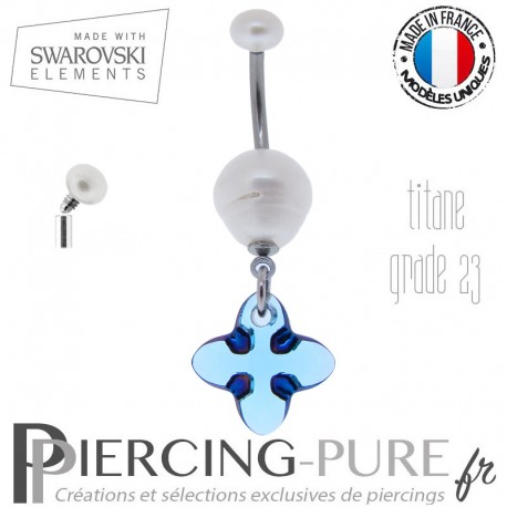 Piercing Nombril Titane interne Cross Tribe Bermuda Blue Swarovski Elements et perle naturelle