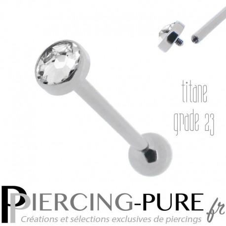 Piercing Langue Titane disque blanc 5mm - Pas de vis interne