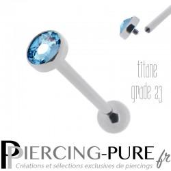 Piercing Langue Titane disque bleu 5mm - Pas de vis interne