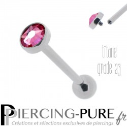 Piercing Langue Titane disque rose 5mm - Pas de vis interne