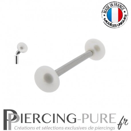 Piercing Téton interne Perles de culture bouton blanches