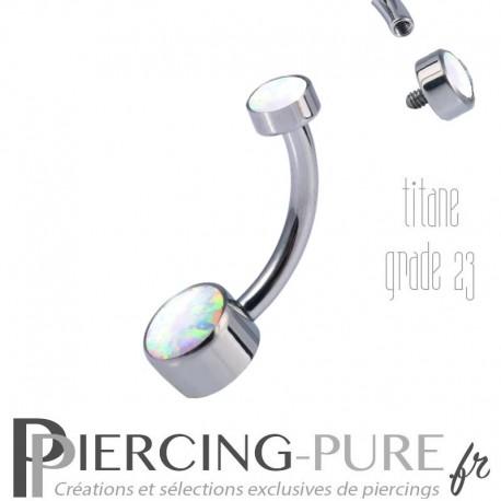 Piercing nombril Titane Disques d'opales blanches