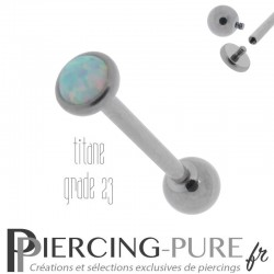 Piercing Langue Opale blanche 5mm